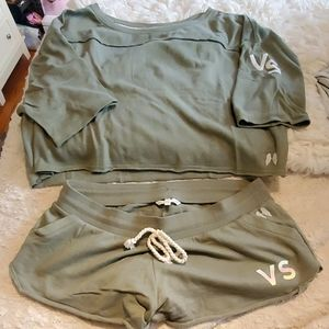 EUC Victoria's Secret green short and shirt outfit